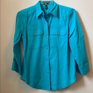 Lauren Ralph Lauren Blue Linen Shirt Medium
